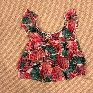 Tops - Cotton ruffle blouse